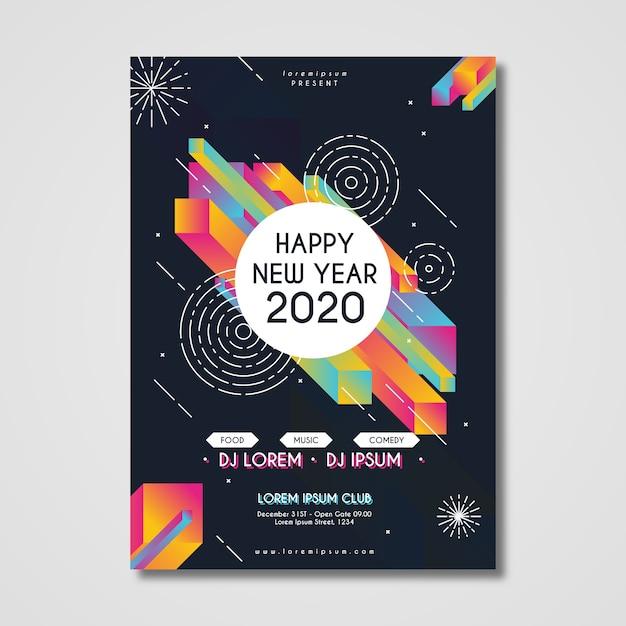 Sjabloon voor abstract nieuwjaar 2020-feestaffiche Gratis Vector
