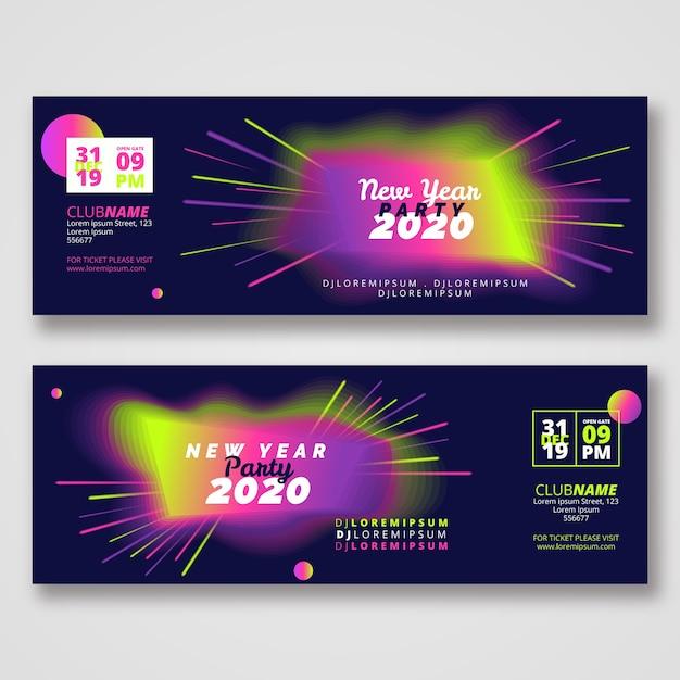 Sjabloon voor abstract nieuwjaar 2020-feestbanners Gratis Vector