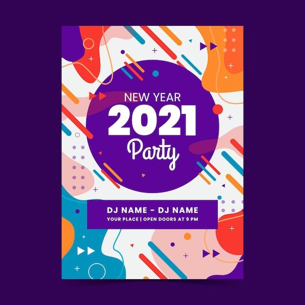 Sjabloon voor abstract nieuwjaar 2021 partij folder Premium Vector