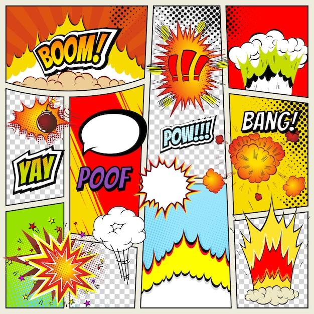 Sjabloon voor abstract stripboek lay-out Premium Vector