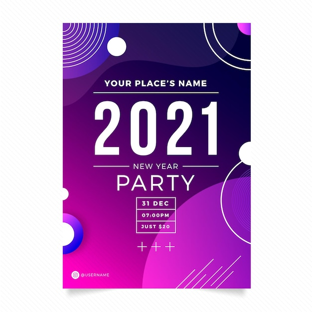 Sjabloon voor abstract typografisch nieuwjaar 2021 partij folder Gratis Vector