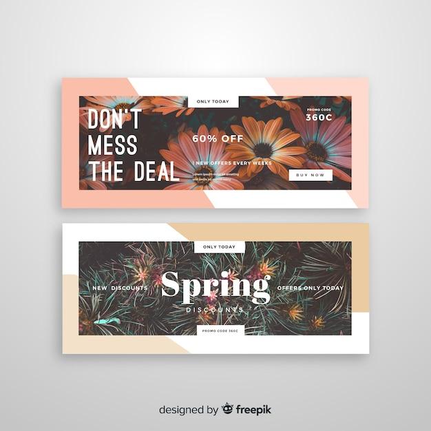 Sjabloon voor abstract verkoop banners met foto Gratis Vector