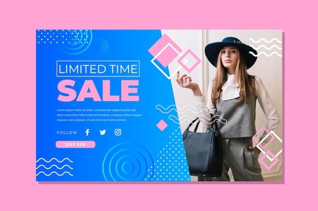 Sjabloon voor abstract verkooplandingspagina met foto Gratis Vector