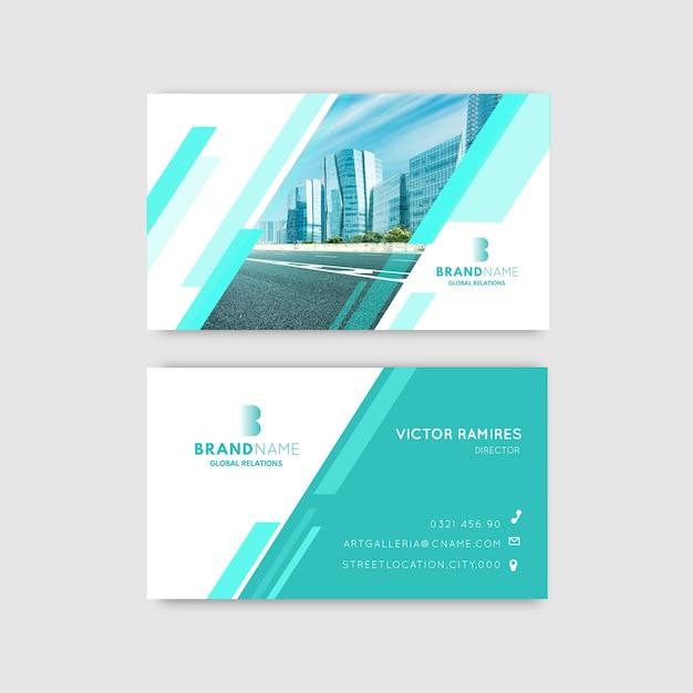 Sjabloon voor abstract visitekaartjes met foto Gratis Vector