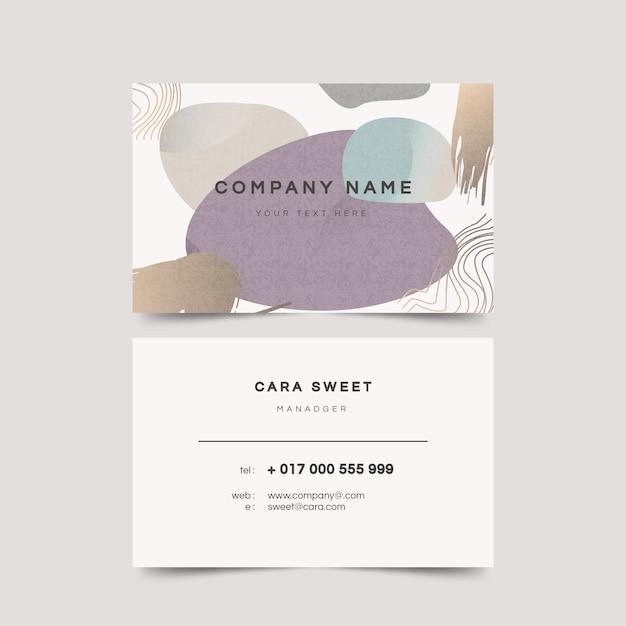 Sjabloon voor abstract visitekaartjes met pastel gekleurde vlekken Gratis Vector