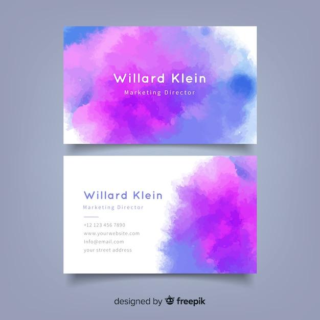 Sjabloon voor abstract waterverf-visitekaartjes Gratis Vector