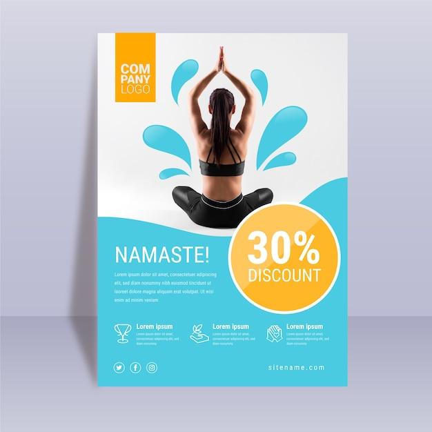 Sjabloon voor abstract yoga poster Gratis Vector