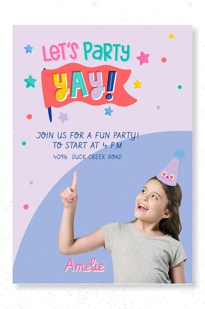 Sjabloon voor afdrukken van kinderfeestje poster Premium Vector