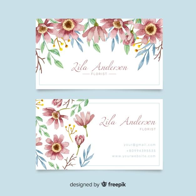 Sjabloon voor aquarel bloemen visitekaartjes Gratis Vector