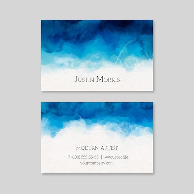 Sjabloon voor aquarel verf-ondergedompeld visitekaartjes Gratis Vector