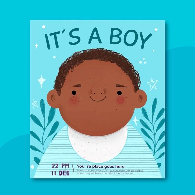 Sjabloon voor baby showeruitnodiging (jongen) Gratis Vector