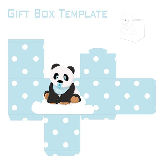 Sjabloon voor babyjongen panda geschenkdoos Premium Vector
