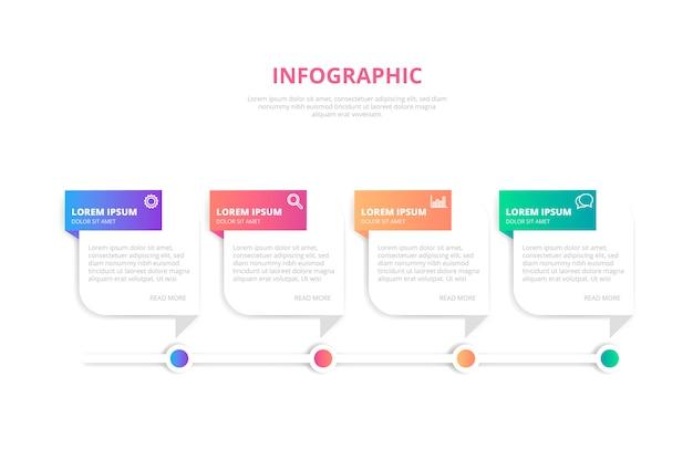 Sjabloon voor banner van gradiënt infographic Gratis Vector