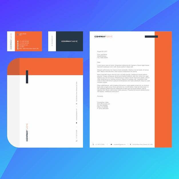 Sjabloon voor bedrijfs moderne visitekaartjes, briefpapier en envelop Premium Vector