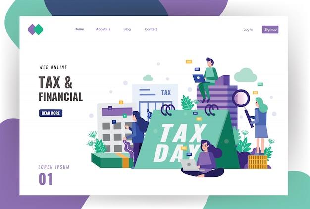 Sjabloon voor belasting en financiële bestemmingspagina. Premium Vector