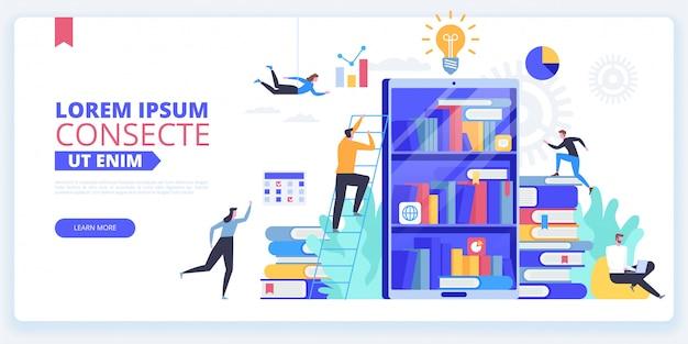 Sjabloon voor bestemmingspagina internetbibliotheek Premium Vector