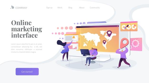 Sjabloon voor bestemmingspagina's voor online marketinginterface Gratis Vector