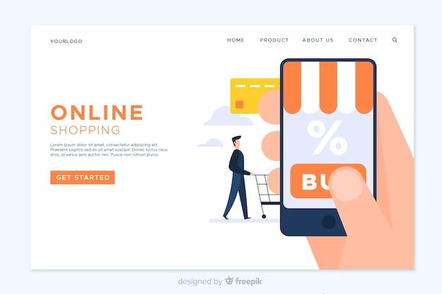 Sjabloon voor bestemmingspagina's voor online winkelen Gratis Vector