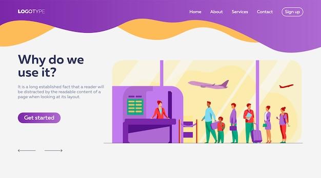Sjabloon voor bestemmingspagina's voor wachtrijen op luchthavens Gratis Vector