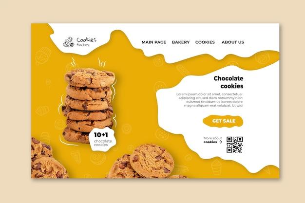 Sjabloon voor bestemmingspagina voor cookies Gratis Vector