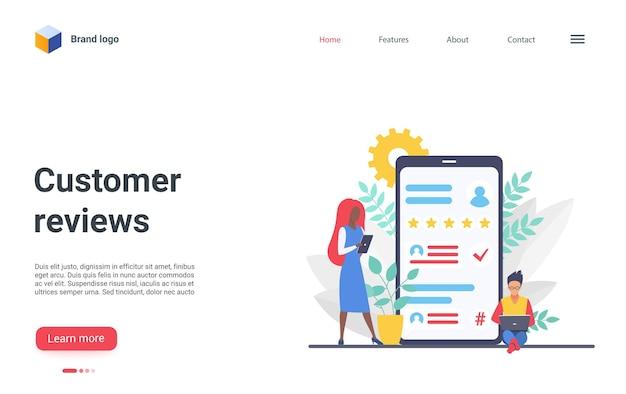 Sjabloon voor bestemmingspagina voor klantrecensies, klanten die beoordelingssterren achterlaten, online aangepaste feedback Premium Vector