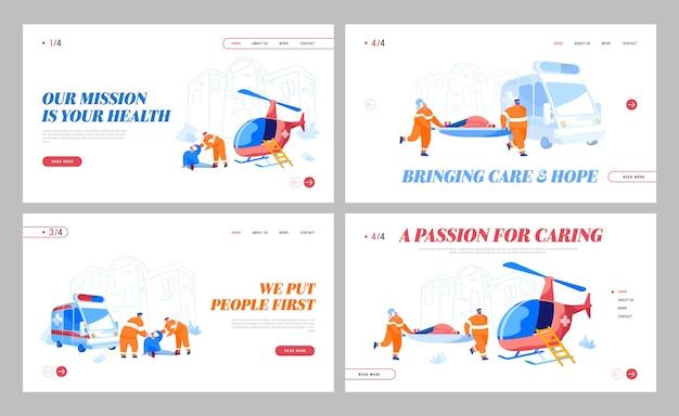 Sjabloon voor bestemmingspagina voor luchtambulanceservice Premium Vector