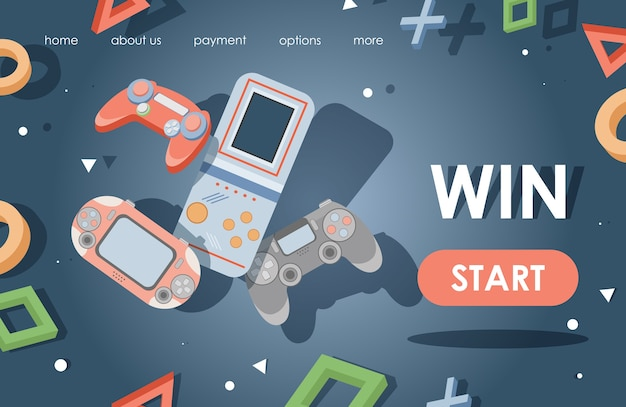 Sjabloon voor bestemmingspagina voor videogames. spelconsoles, spelbesturingen vlakke afbeelding. Premium Vector