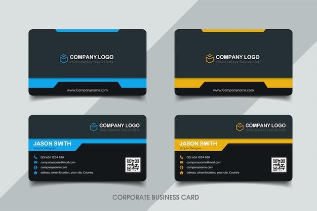 Sjabloon voor blauw en geel visitekaartjes Premium Vector