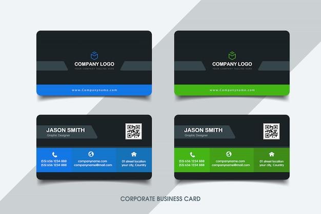 Sjabloon voor blauw en groen visitekaartjes Premium Vector