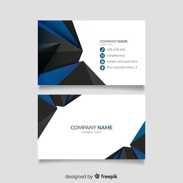 Sjabloon voor blauw en zwart visitekaartjes Gratis Vector