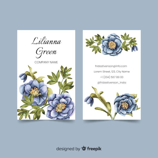 Sjabloon voor bloemen aquarel visitekaartjes Gratis Vector