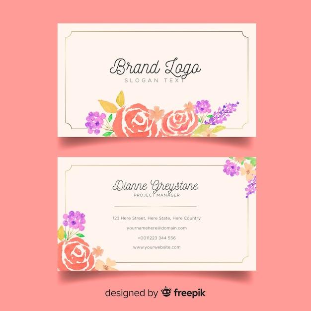Sjabloon voor bloemen visitekaartjes in florale stijl Gratis Vector