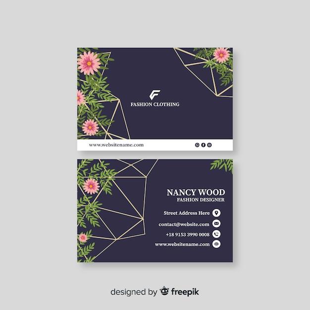Sjabloon voor bloemen visitekaartjes Gratis Vector