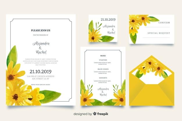 Sjabloon voor briefpapier van de waterverf het gele bruiloft Gratis Vector