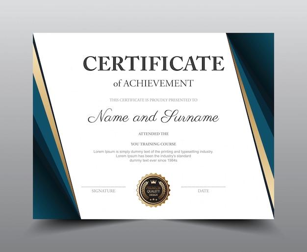 Sjabloon voor certificaatindeling. Premium Vector