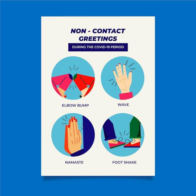 Sjabloon voor contactloze groeten poster Gratis Vector