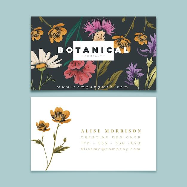 Sjabloon voor creatief visitekaartjes met retro bloemen Gratis Vector