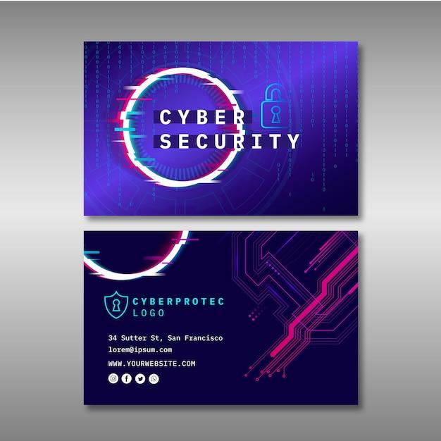 Sjabloon voor cyberveiligheid horizontale visitekaartjes Premium Vector