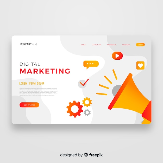 Sjabloon voor digitale marketing bestemmingspagina Gratis Vector