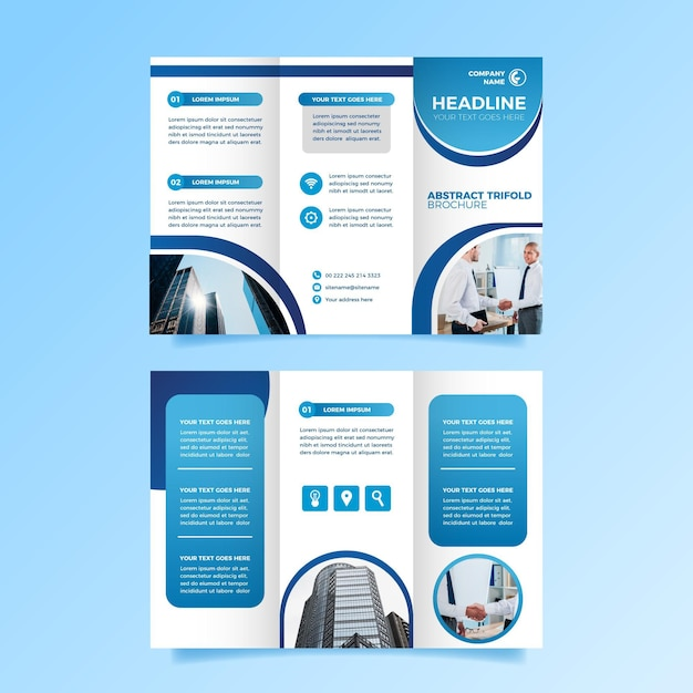 Sjabloon voor driebladige brochureontwerp Gratis Vector