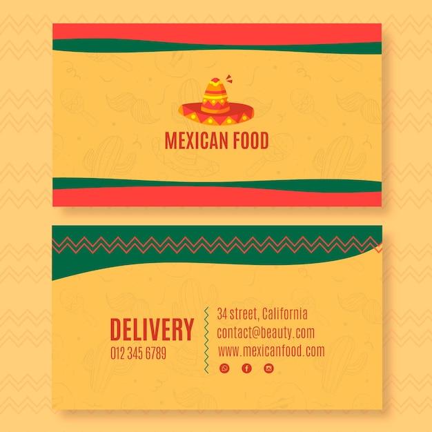 Sjabloon voor dubbelzijdig horizontaal visitekaartjes voor mexicaans eten restaurant Premium Vector