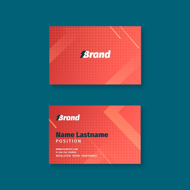 Sjabloon voor dubbelzijdige horizontale visitekaartjes voor elektricien Premium Vector