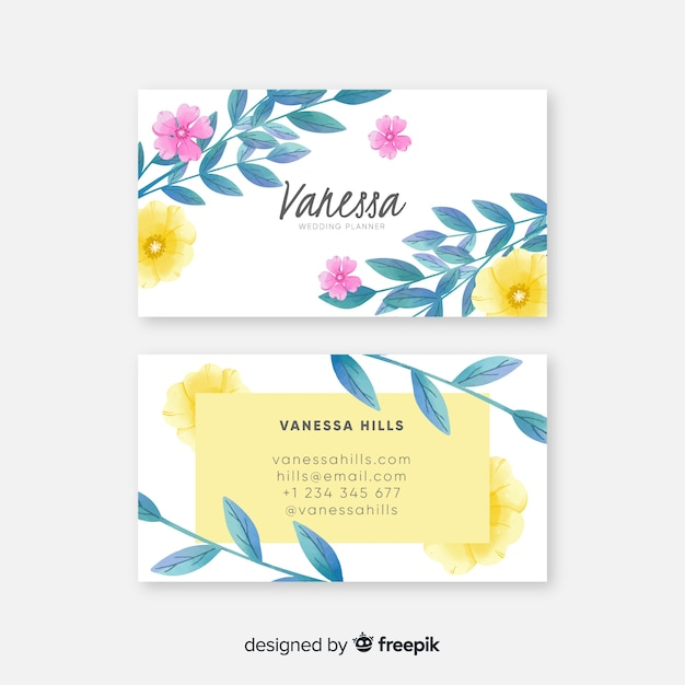 Sjabloon voor elegante aquarel bloemen visitekaartjes Gratis Vector