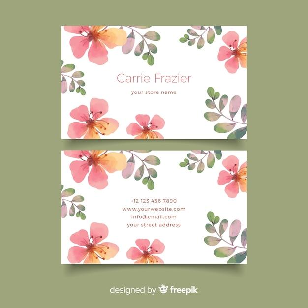 Sjabloon voor elegante bloemen visitekaartjes Gratis Vector