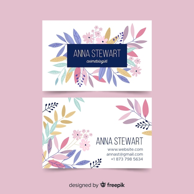Sjabloon voor elegante visitekaartjes met bloemen Gratis Vector