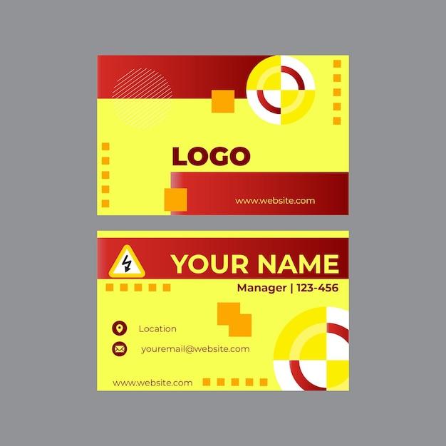 Sjabloon voor elektricien horizontale visitekaartjes instellen Premium Vector