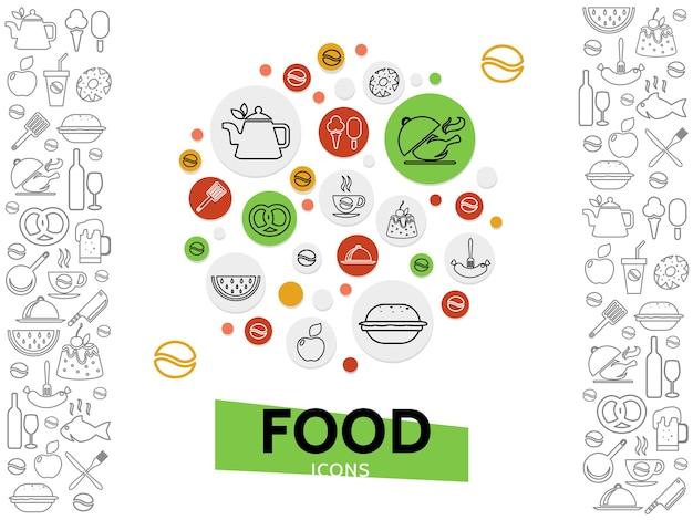 Sjabloon voor eten en drinken met frisdrank, bier, wijn, koffie, dranken, fastfood, vis, zoete producten, fruit, ijs Gratis Vector