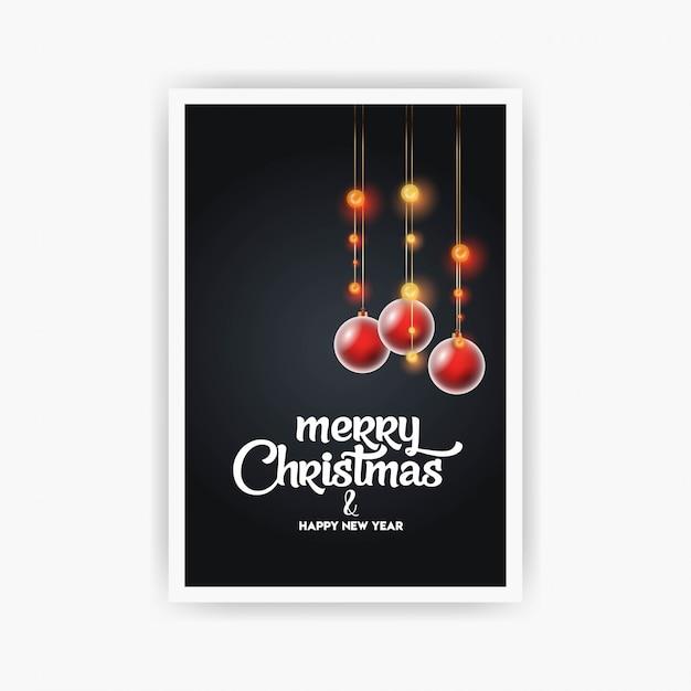 Sjabloon voor flyers van de vintage kerstfeest Premium Vector