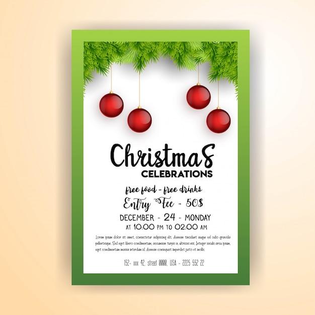 Sjabloon voor flyers van de vintage kerstfeest Gratis Vector