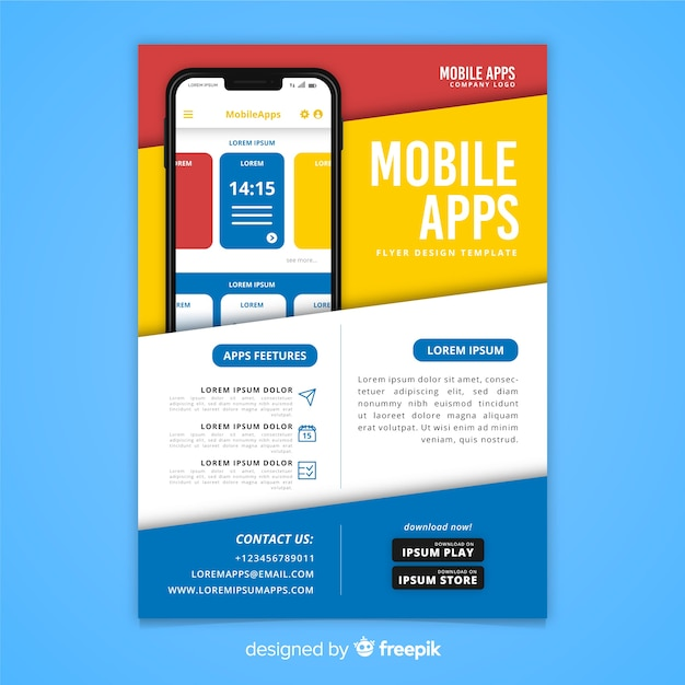 Sjabloon voor flyers voor mobiele app Gratis Vector